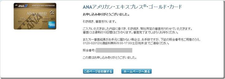 ANAアメリカンエキスプレススピード審査結果